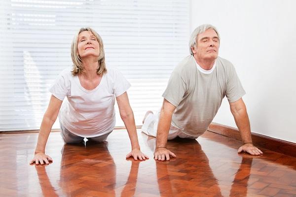 seniors yoga posing
